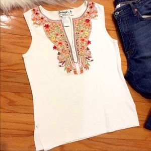 Tops - Embroidered tank top by Joseph A. Floral pattern